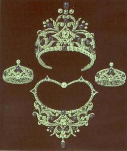 Werktekening van de juwelier met tiara, collier en armbanden uit de set
